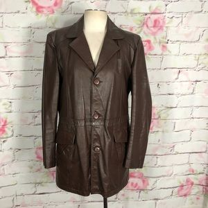 Clipper mist brown leather lined button up jacket